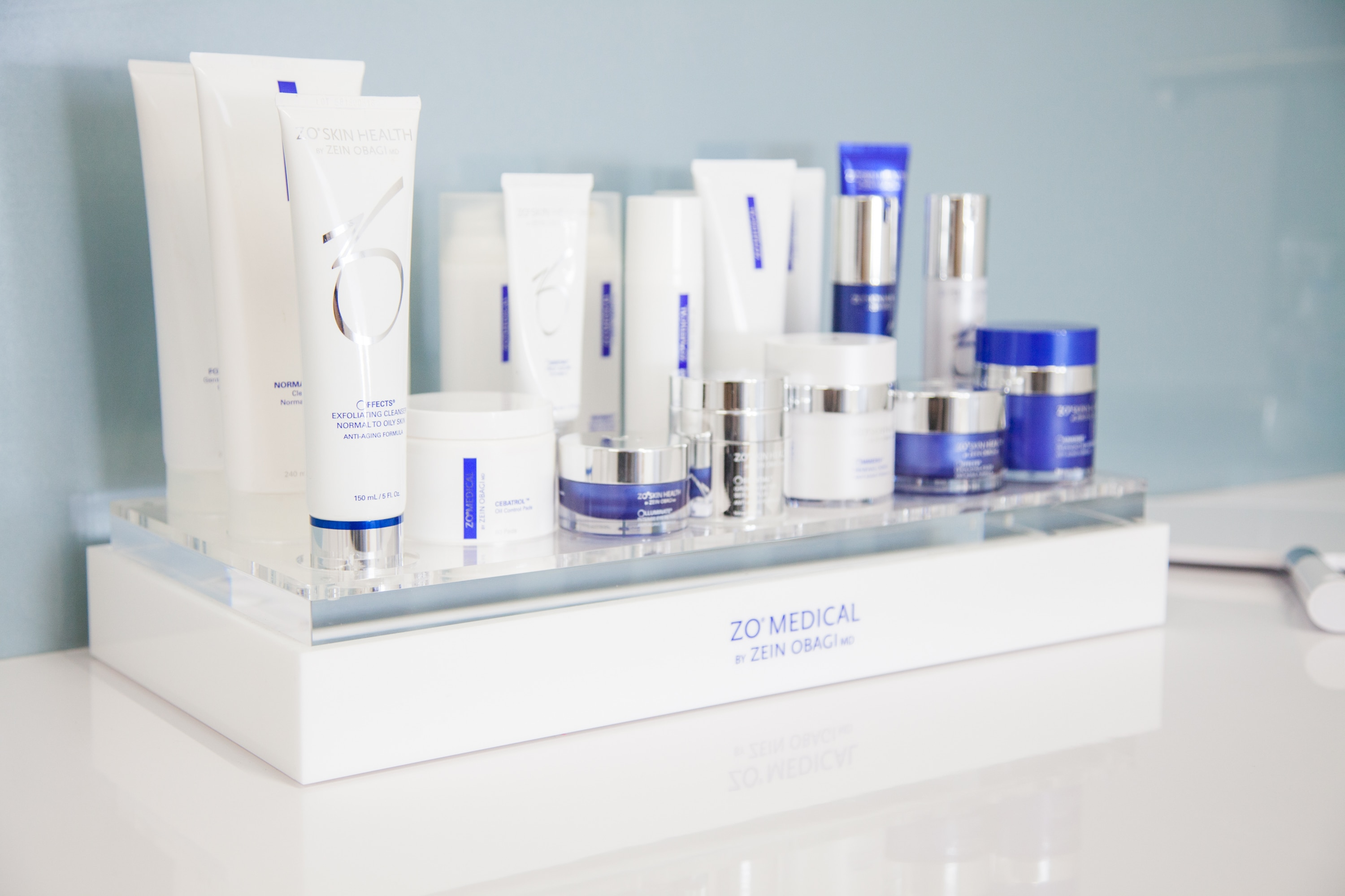 An image of our ZO Skin Health range at our Stirling Clinic