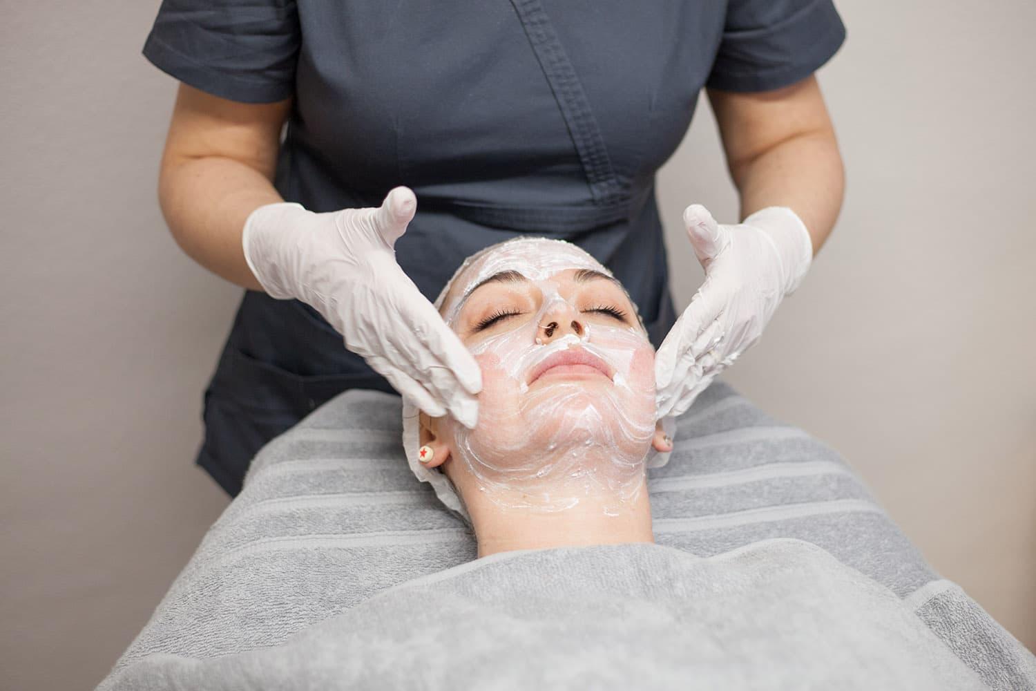 An image of a client having a skin peel in our clinic based in Stirling