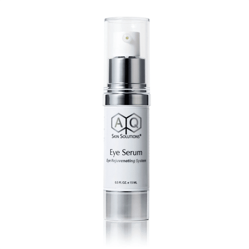 A bottle of our AQ Eye Serum from AQ Skin Solutions in a 30ml bottle on a white background for ageing